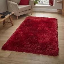 Image Wool Rug Premium Rugs Think Rugs Montana Red Shaggy Rug 80cm 150cm