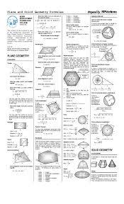 Plane And Solid Geometry Formulas Geometry Formulas