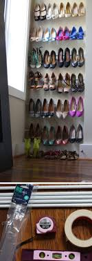 use tension rods for instant shoe organization 25 diy small apartment decorating ideas on a budget