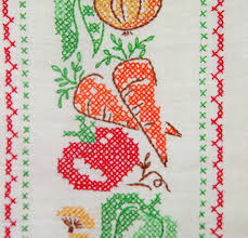 mid century embroidered dish towel art retro country