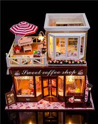1 24 diy miniature wood dollhouse kits with all furnitures light dust cover