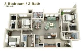3d 3 bedroom house plans three bedroom apartments con google