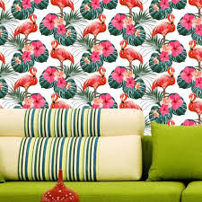 flamingo and hibiscus flowers wallpaper self adhesive prt0108 on camo wall art self stick with buy wall murals photo wallpapers kids room nursery wall