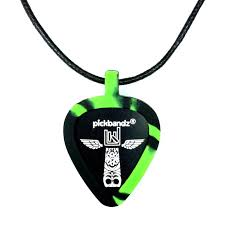 green neon swirl pickbandz guitar pick holder pick necklace just pop in your custom guitar picks and rock on