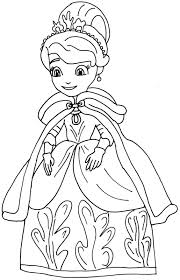 Sofia The First Coloring Pages Winter Dress Coloringstar
