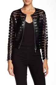 image of insight faux leather mesh striped jacket