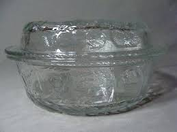 round clear glass 3 qt casserole dish with lid fruit orchard pattern quart baking