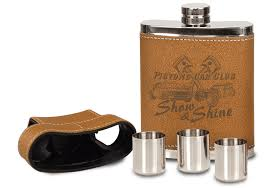 custom engraved leather flask