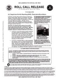 U Fouo Dhs Fbi Suspicious Activity Reporting Bulletin Observation