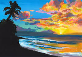 saatchi art sunset at sunset beach north s oahu hawaii painting by michal abramovitz