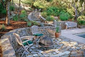 Small Picture rock garden patio ideas rock patio ideas lovely curved stone wall