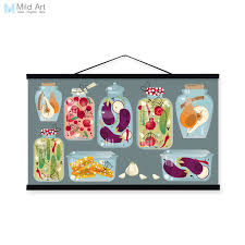 modern colorful food fruit hipster wood framed canvas painting wall art print picture poster scroll kitchen