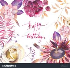 Birthday Flowers Background Design Watercolor Vintage Floral Frame Happy Birthday Card