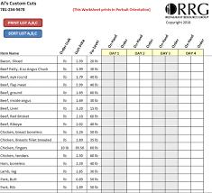 Ordering Spreadsheet Restaurant Vendor Order Guide Workbook Spreadsheet