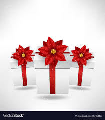 gift bo with poinsettia on grayscale vector image