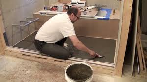 how to mortar shower pan harbacker on plywood floor bathroom remodeling part 16 you