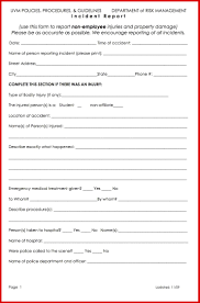 Form For Accident Incident Report New Accident Incident Report Form Wing Scuisine