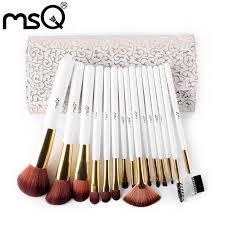 msq 15pcs fashion makeup brushes set pro high quality make up brushes kits with pu leather