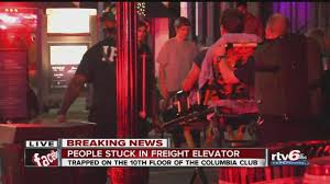 people inside elevator. several people rescued from struck elevator at columbia club downtown inside a