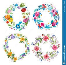 White Paper Flower Garland Bright Garland Of Wild Flowers Drawn On White Paper With Aquarelle