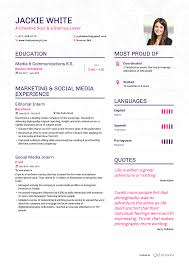 Enhancv Example Resume Jackie White Page 1 About Work