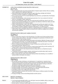 Senior Training Specialist Resume Samples Velvet Jobs