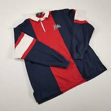 vtg polo sport ralph lauren red white blue varsity spell out rugby shirt xl 90s
