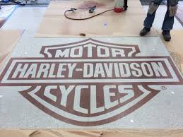 harley davidson polished concrete flooring with custom stained logo multi color custom cut design yelp