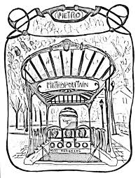 Free Coloring Page Coloring Adult Entrance Gate To Paris Subway