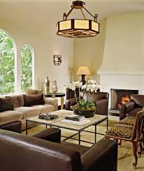 Leopard Chairs Living Room Modern Rustic Living Room With Yellow Classic Pendant Lamp Above