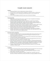 Resume Overview Examples Career Summary Resume Summary Resume