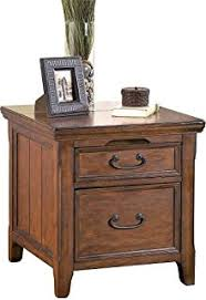 Amazon Rustic Dark Brown Woodboro End Table w File Cabinet