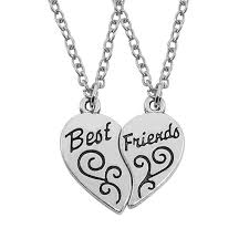 whole high quality two part broken heart pendant necklace best friends f necklaces vintage alloy friendship jewelry whole gold chains for men name
