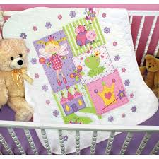 Fairy Baby Quilt Kit - St&ed Embroidery Quilt Kits at Weekend Kits & Baby Quilt - Stamped Cross Stitch Kit - Fairy Quilt Adamdwight.com