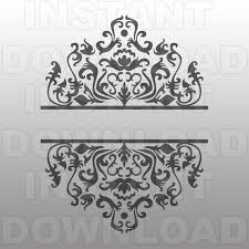 ornate scrollwork split frame monogram svg file cutting template vector clip art for commercial personal use cricut silhouette cameo vinyl