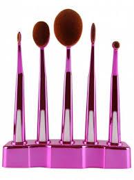 oval brush set holder. fashion 5 piece soft oval make-up brush set with holder v