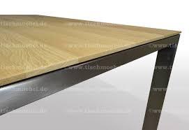 Esstisch Eiche Ausziehbar 160 X 80 Cm Edelstahl Tischmoebelde