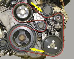 bmw auto parts catalog bmw belt and pulley replacement part 2 view diagram of bmw serpentine belt installed on the motor and belt rotation