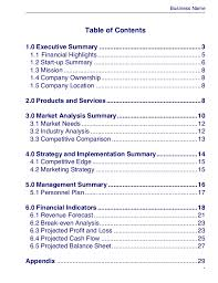 executive business plan template business plan template master plans doc