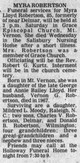 Obituary for Myra Lloyd ROBERTSON (Aged 85) - Newspapers.com
