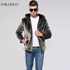 2018 fhillinuo 2017 winter faux fur coat men silver color warm elegant soft comfortable mink fur hooded jacket male outwear coats from colin scot
