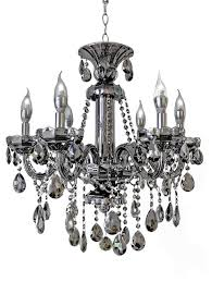 impressive silver chandelier light 6 light smoked mirrored silver crystal chandelier light