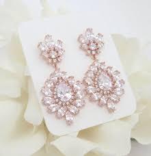 rose gold earrings crystal bridal earrings chandelier earrings bridal jewelry rose gold jewelry bridesmaid earrings cz earrings