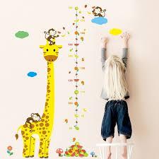 Cartoon Animals Giraffe Monkey Height Measure Wall Sticker For Kids Rooms Growth Chart Nursery Room Decor Wall Art