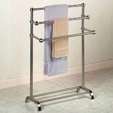 free standing towel rack. Free Standing Towel Holder Rack For Bathroom Image Of Metal Wood Racks Floor Brushed I