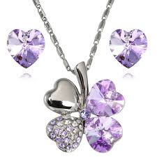 lucky love heart shaped swarovski elements crystal four leaf clover rhodium plated pendant necklace and earrings set