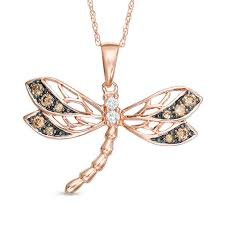t w champagne and white diamond dragonfly pendant in 10k rose gold