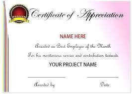 Recognition Awards Certificates Template Employee Recognition Award Certificate Template Appreciation For