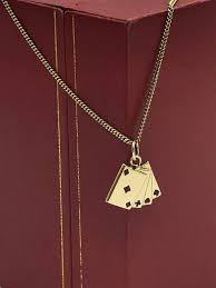 kaart red end black 14 kt yellow gold necklace with pendant