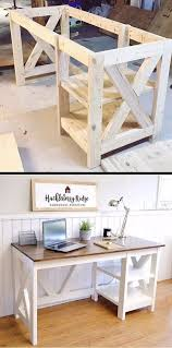 diy office projects. Plans Of Woodworking Diy Projects - Farmhouse X Desk For The Home Office #
